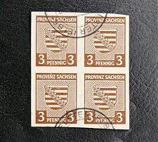 TIMBRES D'ALLEMAGNE : 1945 SACHSEN / SAXE - N° 2 YVERT EN BLOC DE 4 Oblitéré ND