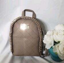 bebe Julia Mini Backpack Taupe Purse Small Chain Quilted bag Brown Gray