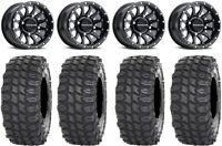 """Raceline Trophy 14"""" Wheels Black +38mm 32"""" X COMP Tires RZR XP 1000 / PRO XP"""