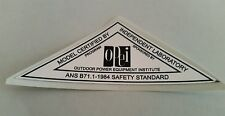 Reproduction 1984 OPEI chrome safety standards adhesive decal, lawn-boy, toro.