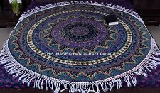 Indian Urban Elephant Star Mandala Beach Throw Tapestry Round Yoga Mat Decor
