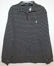 Polo Ralph Lauren Mens Black White Striped 1/2 Zip Cotton Sweater NWT XXL 2XL