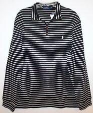 Polo Ralph Lauren Mens Black White Striped 1/2 Zip Cotton Sweater NWT XXL 2XL
