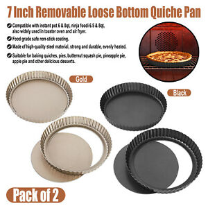 7 Inch Tart Pan Steel Pie Oven Baking Dish Removable Bottom Non Stick Quiche Pan