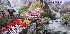 100% ORIGINAL FINE ART CHINESE FAMOUS SANSUI WATERCOLOR PAINTING-Landscape&house