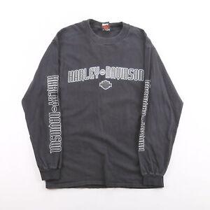 Vintage HARLEY DAVIDSON 2000 Ohio Black 00s Long Sleeve T-Shirt Mens M