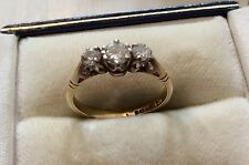 Beautiful Quality Ladies Full Hallmarked Vintage Good Sized 3 Stone Diamond Ring
