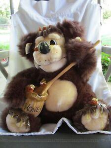 "Orzek BERTHA 14"" Brown Plush Honey Covered Teddy Bear Bees Honey Pot 1994"