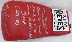 ANDRE WARD AUTOGRAPHED RED REYES BOXING GLOVE WITH STATS LH BECKETT 182287
