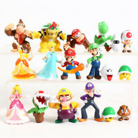 SUPER MARIO BROS lot de 18 Figurines  LUIGI MARIO PEACH LUMA jouet décor