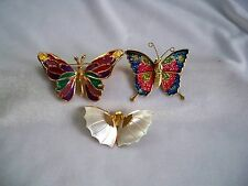 Collection of 3 Vintage Multicolor Enamel & Mother of Pearl Butterfly Brooches
