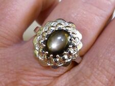 GENUINE 3.25ct African Black Star Sapphire Ring Solid Sterling Silver 925