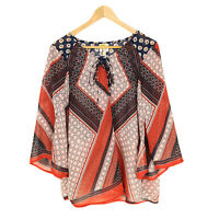 Fig Flower Tunic Top M Anthropologie Casual 3/4 Sleeve Tie Polyester V-Neck