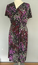 MINUET PETITE  SIZE 20 mock wrap DRESS purple pink grey pattern LINED STRETCHY