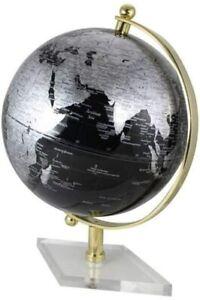 Großer Globus mit Messing-  Fuß Acryl- Farbe silberschwarz