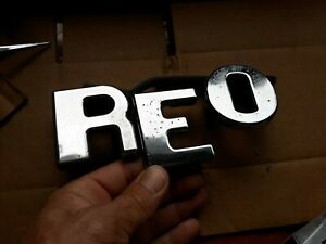 Reo Semi Truck Hood Emblem SCRIPT  Letters  1950s 1960s