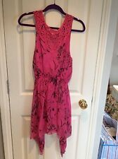 Pink Dipped Hem Crochet Panel Dress - Worn Once - Size S