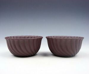 Pair YiXing Zisha Clay Hand Crafted Unique Shaped Tea Cups #06271602