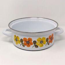 "Vintage Austria Email Cookware Enamelware Sauce Pan Pot White Orange Floral 8"""