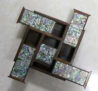 Chinese Precious Rare Boxwood Inlay Conch Hand Carve Delicate Noble Jiugong Box