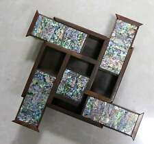 Asian Collectable Delicate Boxwood Inlay Conch Carve Old Noble Girl Jewelry Box