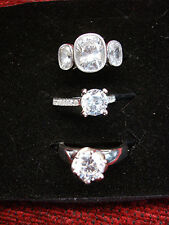 STERLING SILVER RINGS WITH SPARKLING  CZS - 3 PIECE GROUP - LOTS OF FLASH! #4