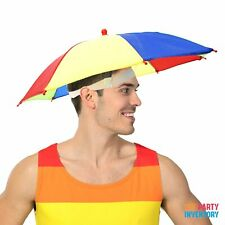 Rainbow Umbrella Hat Colourful Novelty Accessory Mardi Gras Pride Festival Gear