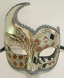 MAR12 HANDMADE IN ITALY, MASQUERADE, PAPIER MACHE PARTY EYE MASK, BLACK/SILVER