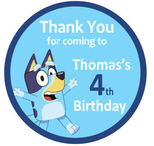 Bluey the dog Personalised Birthday Party Thank you Lolly Bag Stickers x 24