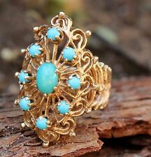 9ct Ring Vintage Jewellery Gold Turquoise Filigree Jewelry Old Cocktail Ladies