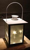 Metall Laterne mit 5 warmweiße LED mit 3D Holografie | Windlicht | Glaswindlicht