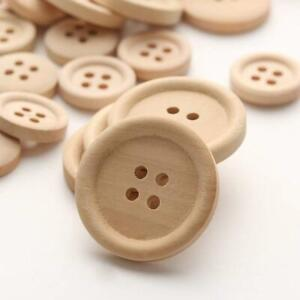 50 Pcs Mixed Wooden Buttons Natural Color Round 4-Holes Sewing Scrapbooking Best