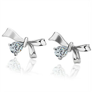 18K White Gold Plated CZ Crystal Bow Stud Earrings