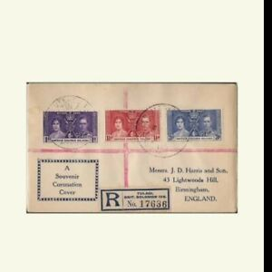 1937 fdc registered cover queen  coronation  Solomon island England