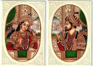 16th Century Love Icons Shahjahan & Mumtaz Miniature Painting Wall Decor Hippie
