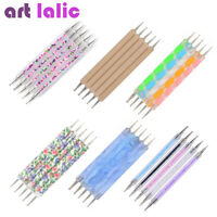 5Pcs/set 2-Way Nail Art Dotting Dot Pen Marbleizing Manicure Tools DIY Mix Tips