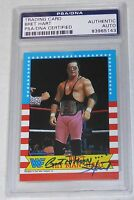 Bret Hart Signed 1987 Topps WWF Rookie Card #1 PSA/DNA COA RC WWE Star Autograph