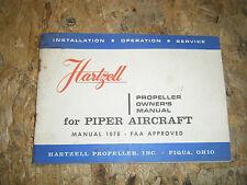 1966 HARTZELL PROPELLER OWNER'S MANUAL FOR PIPER AIRCRAFT MANUAL 107E