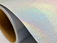 "24"" X 30'ft - Silver Glitter Holographic Craft & Hobby Cutting Vinyl Film"