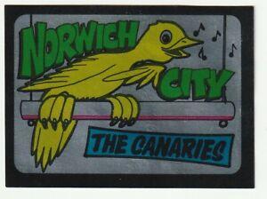 A & BC bubble gum 1968 Football team emblems NORWICH CITY The Canaries