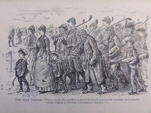 Golf Theme THE GOLF STREAM - EAST COAST OF SCOTLAND Antique Punch Cartoon