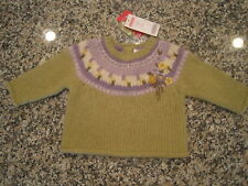 New NWT Gymboree Green Purple Fair Isle Wool Blend Pullover Sweater 3-6 month