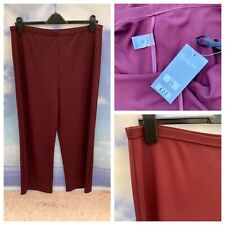 Ladies Burgundy Trousers 20 Uk Size Stretchy Elasticated Waist Smart Holiday New