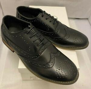 Mens Classic 2 Black Faux Leather Lace Up Smart Shoes Brogues Sizes uk 8 42