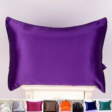 1pc 22 Momme 100% Pure Mulberry Silk Pillow Cases Cover Zipper Piping Around