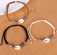 Charm Boho Natural Seashell Starfish Handmade Braided String Rope Bracelet Women
