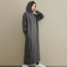 Lady Sweatshirt Hoodie Dress Fleece Lined Long Sleeve Slit Solid Fit & Flare
