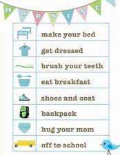 Impresión A5-tabla de recompensa niños rutina de la mañana incluye pegatinas sonriente cara