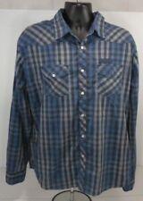 Black Jack Mens XL Shirt Blue Black L/S Button Front Checkered Casual XL