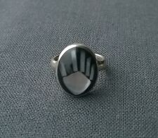 SOLID 925 STERLING SILVER INLAID ONYX MOP FUNKY HAND RING L 1/2